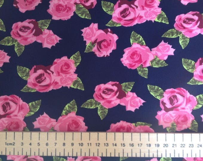 High quality cotton poplin, vintage roses on navy