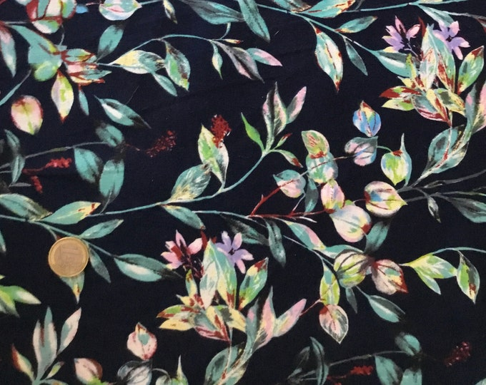 High quality cotton satin, floral on navy