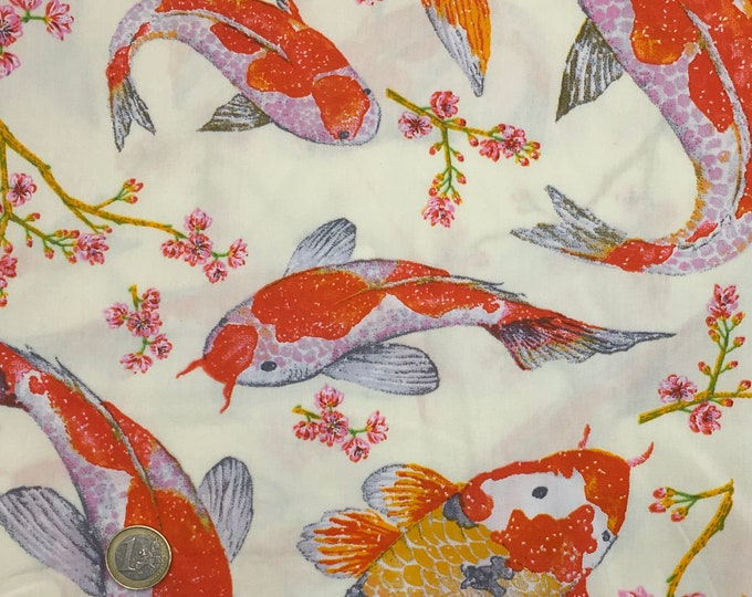 High quality cotton poplin printed in Japan, carpes koi on ivory