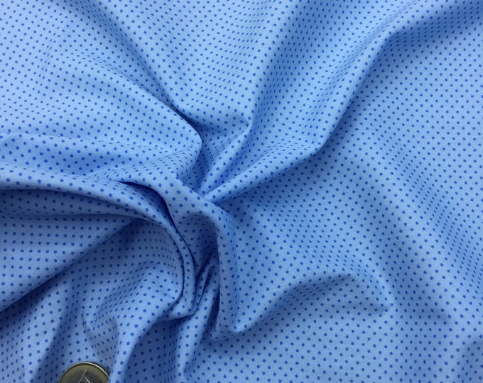 High quality cotton poplin. Blue polka dots on baby blue, nr45