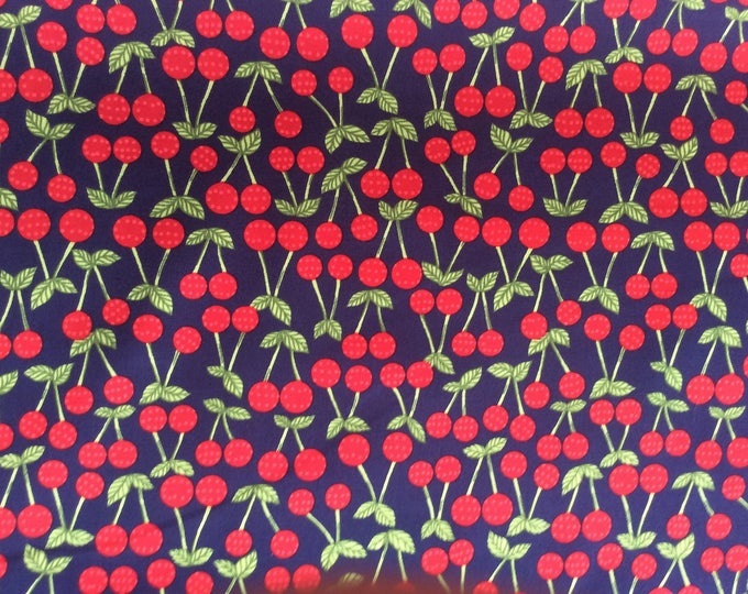 High quality cotton poplin printed in Japan, cherries on navy