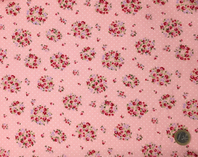 High quality cotton popli, vintage floral print on pink