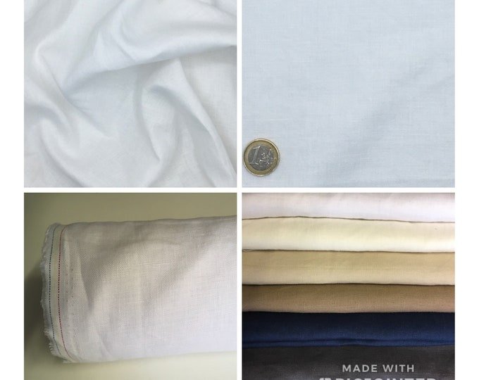 Heavy, washed linen, perfect for clothing and home accessories, white