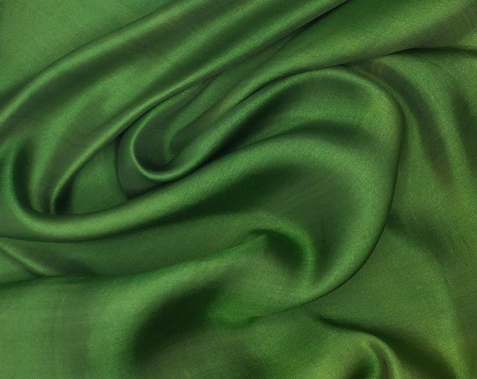 Genuine moss green silk satin fabric backed crepe fabric