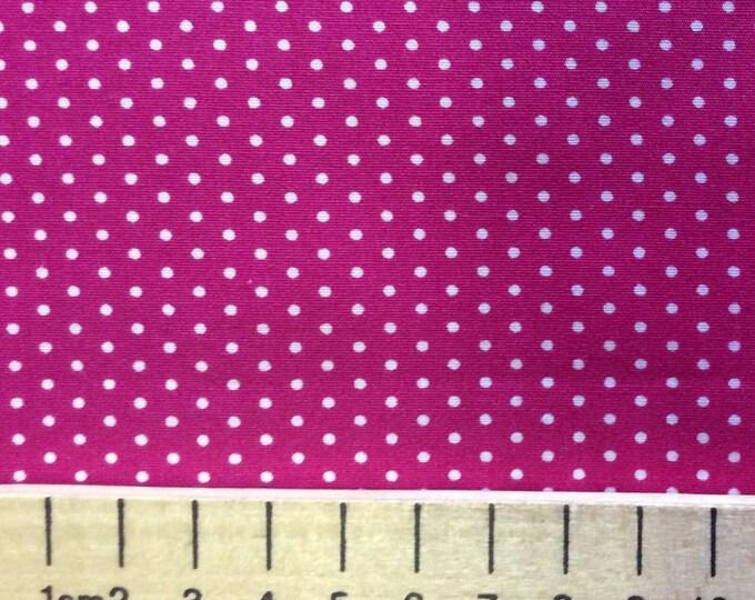 High quality cotton poplin, 2mm polka dots on hot pink