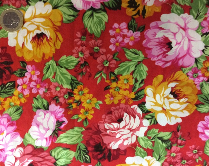 High quality cotton poplin dyed in Japan with peonies