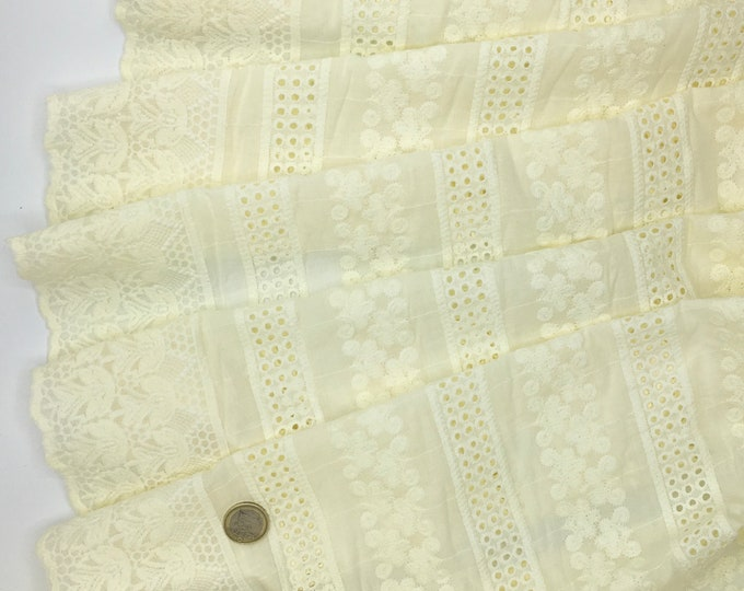 Cream embroidery anglaise, eyelet or broderie anglais cotton fabric, scalloped edges