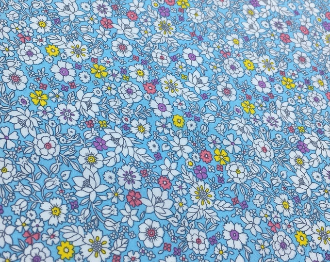 High quality cotton poplin with floral on blue, Heidi