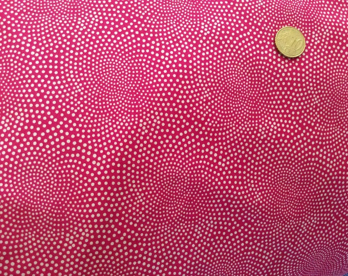 High quality cotton poplin, white abstract print on dark pink