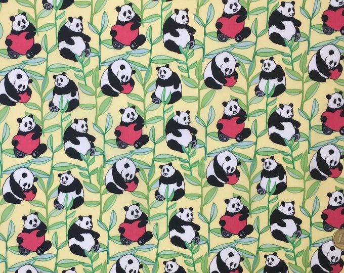 Cotton poplin with bamboo and panda kawaii print