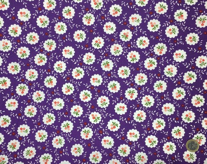 High quality cotton poplin printed in Japan, vintage floral on purple