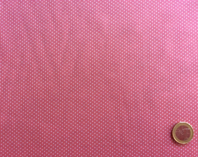 Cotton lawn fabric, white polka dots on antique pink