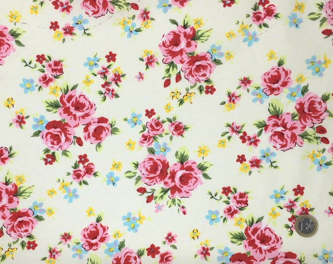 High quality cotton poplin printed in Japan, roses on cream