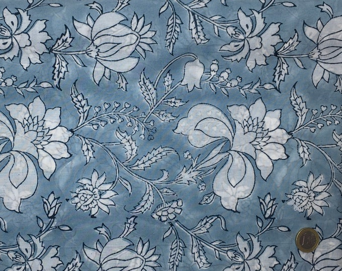 Indian block printed cotton voile, hand made. Sky blue Jaipur