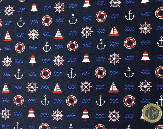High quality cotton poplin, sailboats on navy