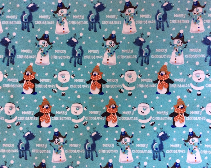 High quality cotton print, Christmas print on ice blue