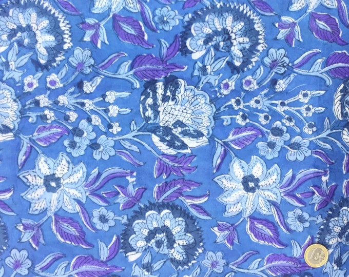 Indian block printed cotton voile, hand made. Blue Jaipur