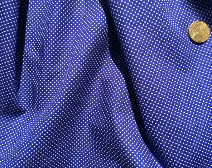 High quality cotton poplin dyed in Japan with 2mm polka dots royal blue
