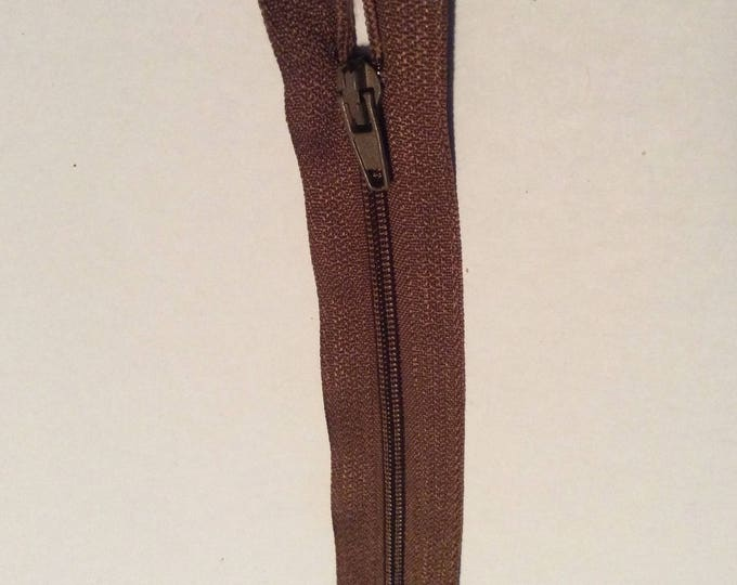 "Nylon coil zippers, 20cm (8""), middle brown"