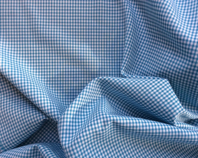 Cotton poplin blue check weave