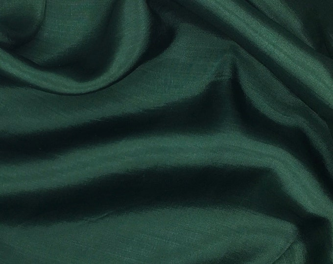 Genuine dark green silk satin fabric backed crepe fabric