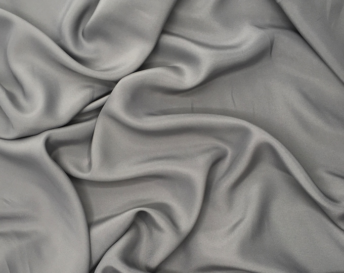 High quality silky crepe back satin, close to genuine silk crepe. Steel Gray  No48