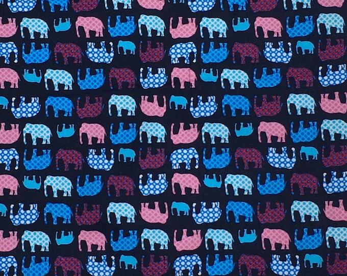High quality cotton poplin printed in Japan, elephants