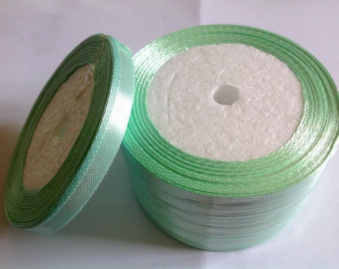 Roll of 22.5m of satin ribbon single face, pistachio green no12