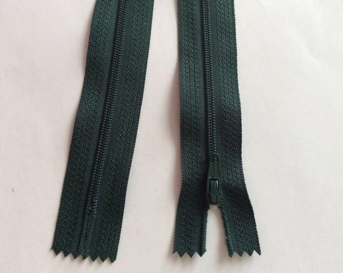 "Nylon coil zippers, 20cm (8""), pine green"