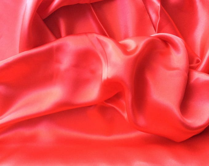 High quality silky satin, very close to genuine silk satin. Red No10
