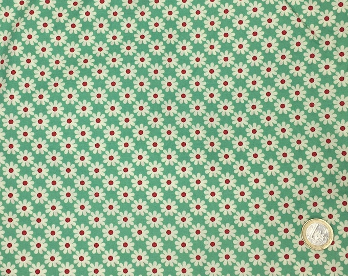 High quality cotton poplin printed in Japan, vintage floral print on green