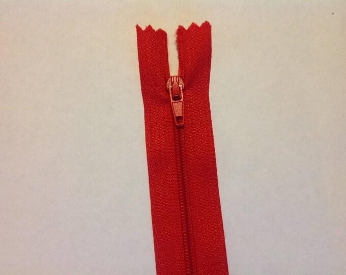 "Nylon coil zipper, 30cm (12""), red"