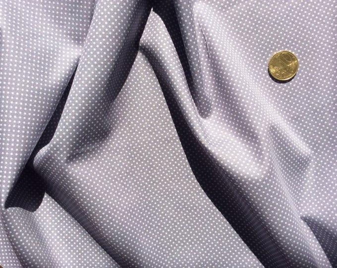 High quality cotton poplin, 2mm light grey polka dots