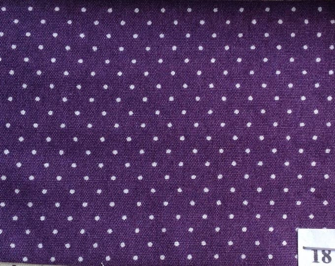 High quality cotton poplin, 1mm white polka dots on purple, No18