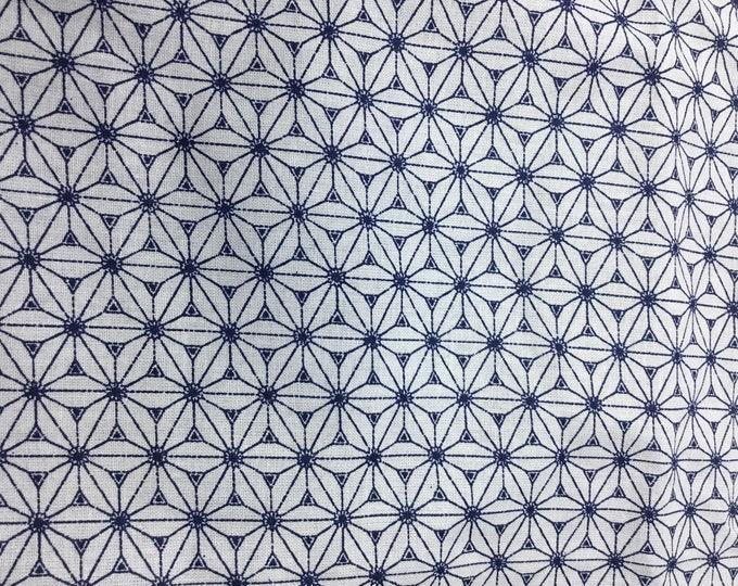 High quality cotton poplin. Grey and navy Sashiko print