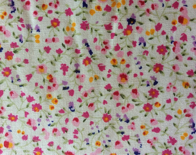 High quality cotton poplin, small pink and purple floral print