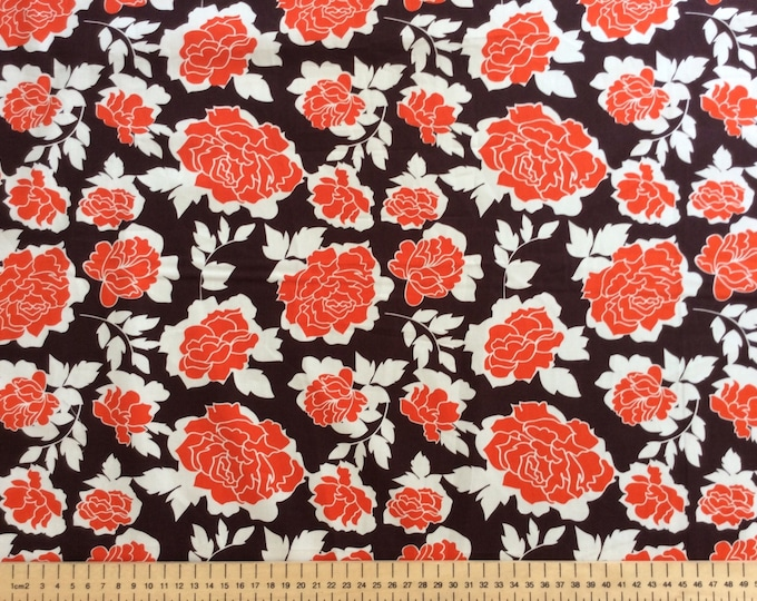 High quality cotton poplin, orange/brown vintage roses print