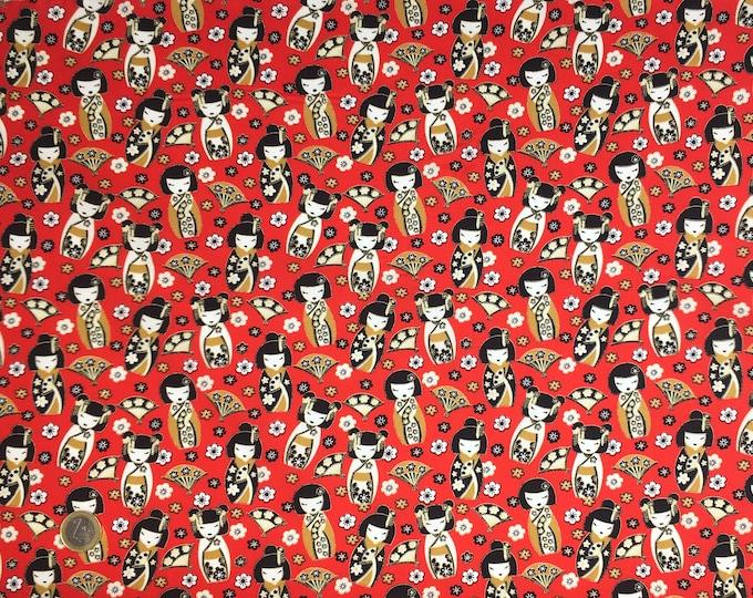 High quality cotton poplin, geisha or japanese dolls