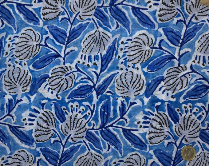Indian block printed cotton voile, hand made. Royal blue Jaipur