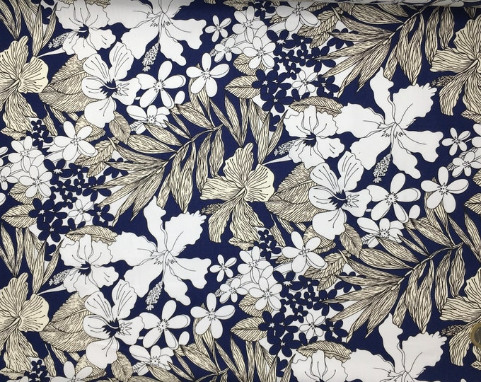 High quality cotton poplin. Flora, navy