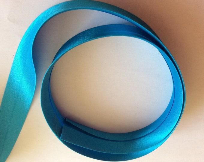 25mm silky sateen bias binding, turquoise