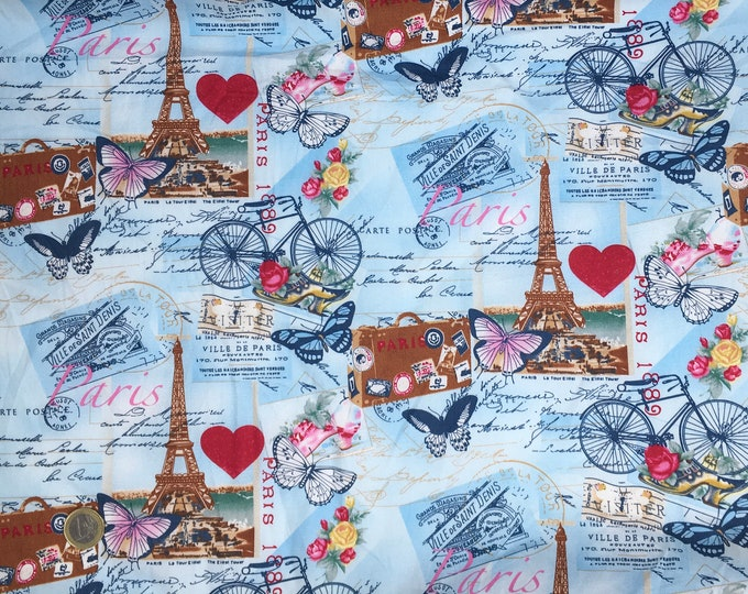 Oekotex certified cotton poplin with Paris and Eiffel Tower print