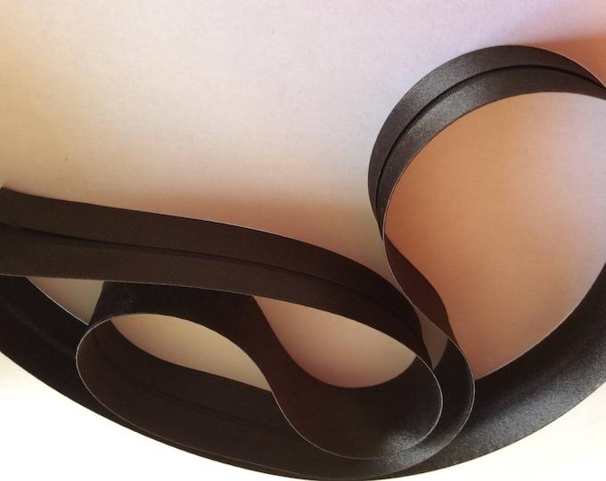 25mm silky sateen bias binding, dark brown no17
