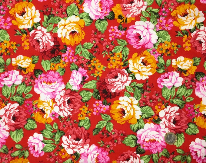 High quality cotton poplin, Japanese flowers or peonys on red