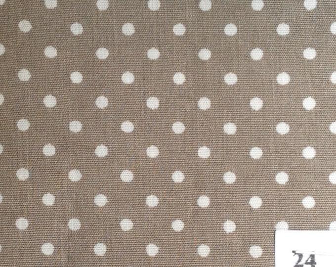 High quality cotton poplin, white spots on dark beige no24