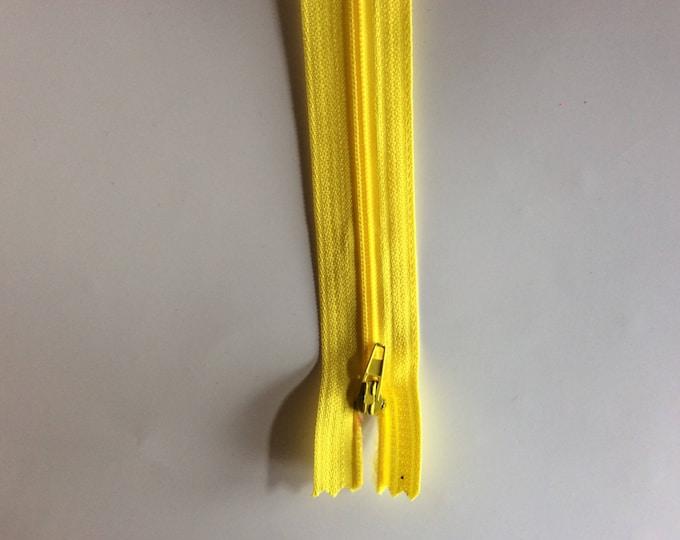 "Nylon coil zipper, 30cm (12""), yellow"