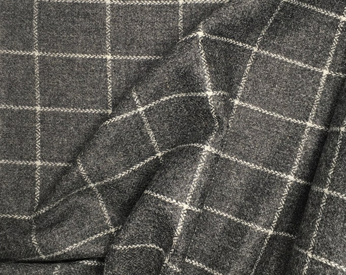 Genuine Shetland wool fabric, grey and white check weave