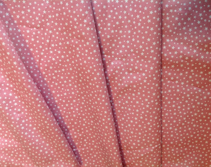 High quality cotton poplin, stars on antique pink