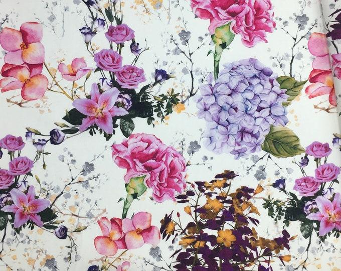 High quality cotton poplin, digital floral print on white