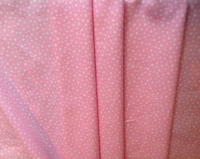 High quality cotton poplin dyed in Japan with stars, pink